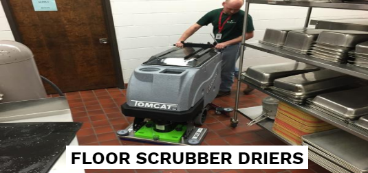 Compact battery scrubber drier